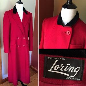Vintage 80s Loring pure wool long coat made in USA